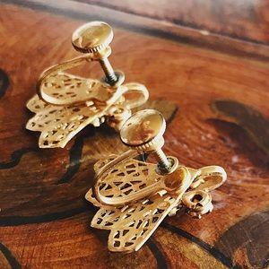 Vintage Jewelry - Gorgeous 50s Fan Design Earrings